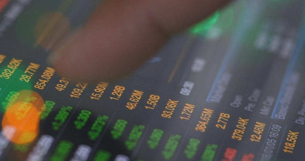 Investing stock market data on the screen